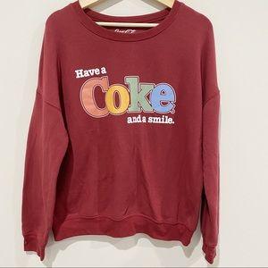 COCA-COLA Retro Crewneck Sweatshirt, Size Medium
